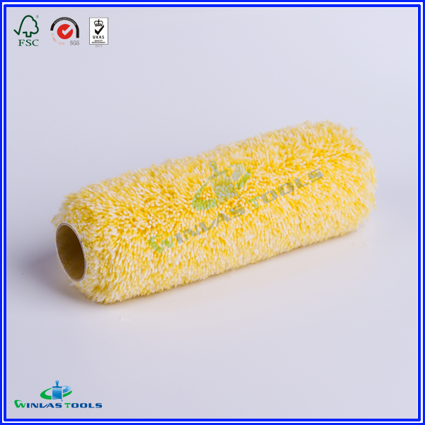 yellow and white color paint roller refill