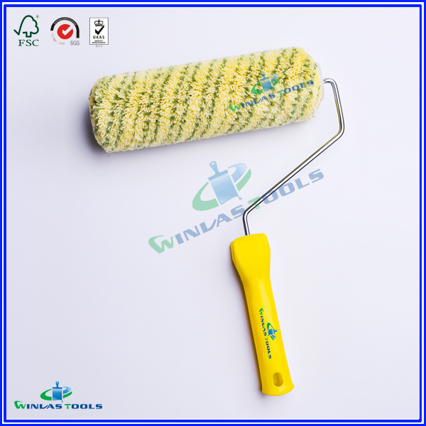 yellow base green line paint roller
